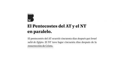 Comparación entre Pentecostés del Antiguo testamento y el del Nuevo testamento